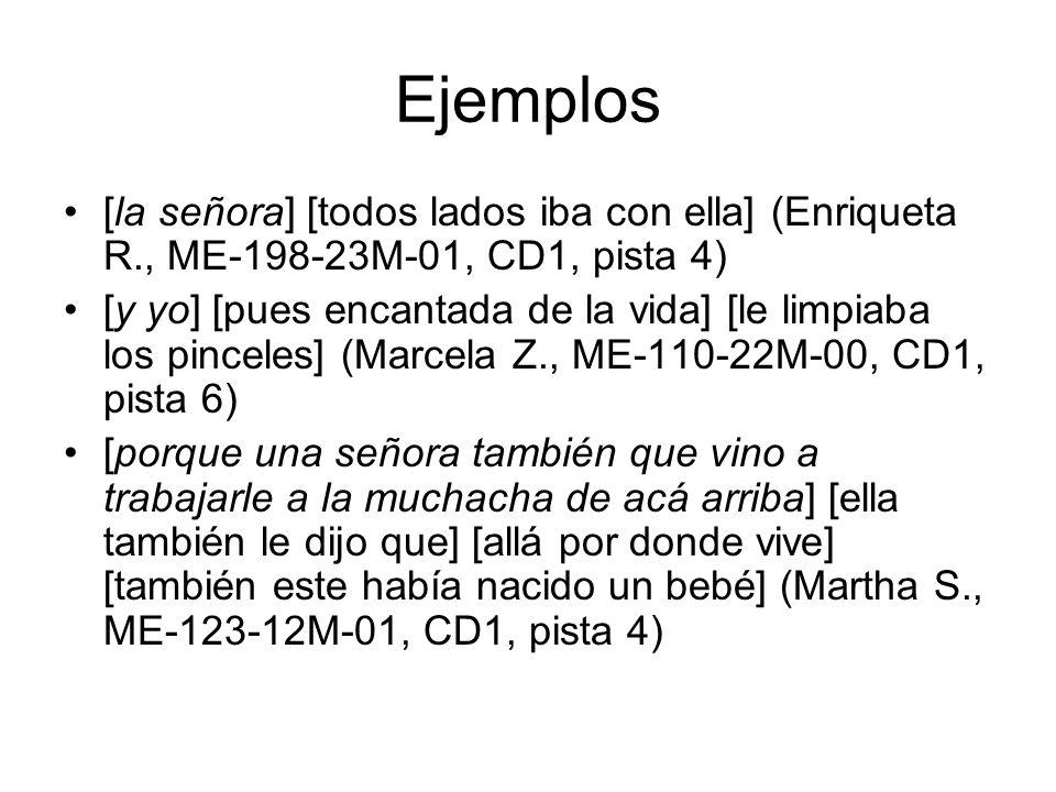 Ejemplos [la señora] [todos lados iba con ella] (Enriqueta R., ME-198-23M-01, CD1, pista 4)